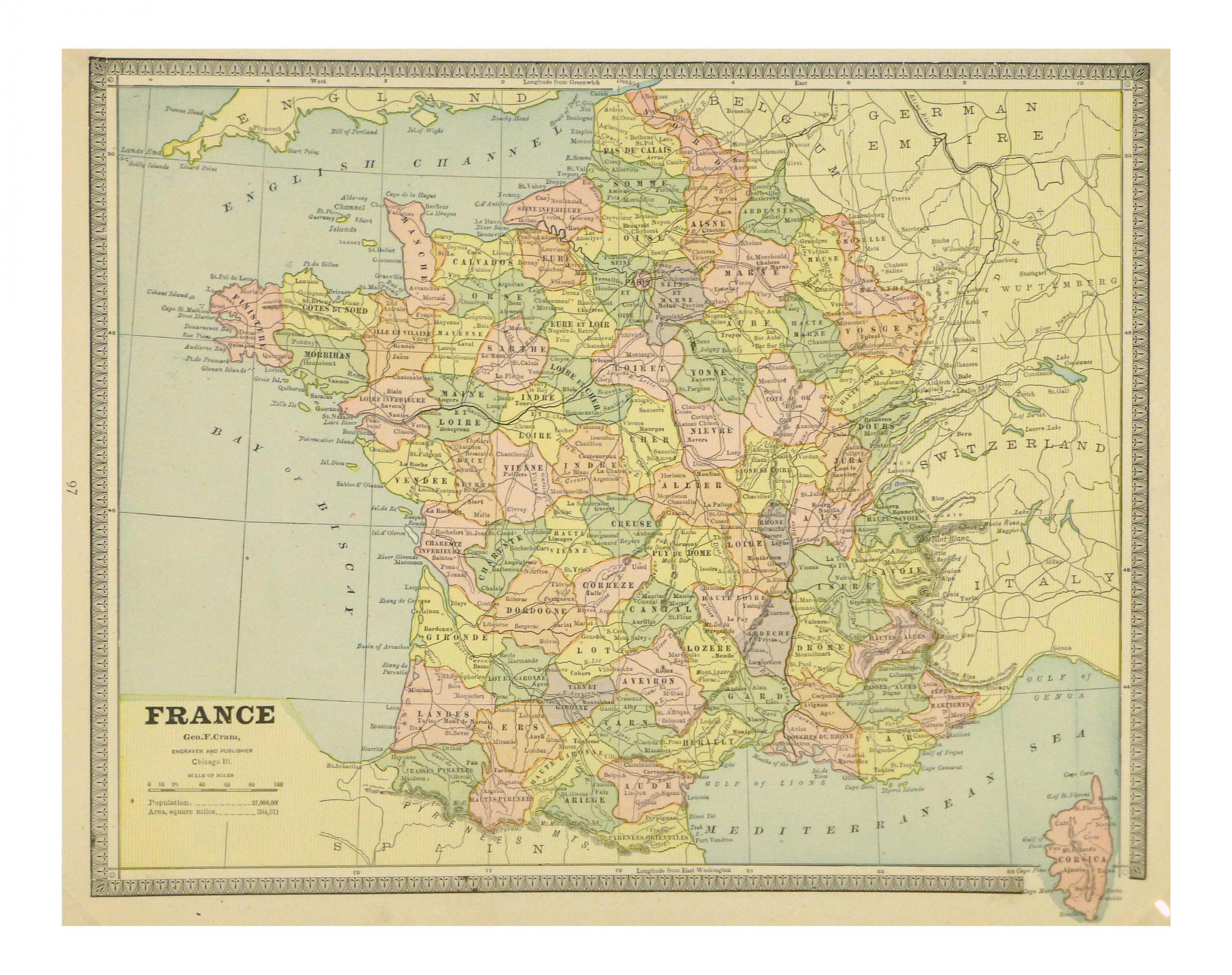 Mappa Della Francia Vintage